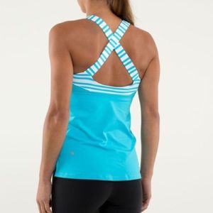 Lululemon Track and Train Criss Cross Striped Tank